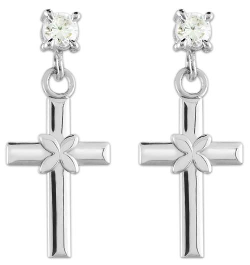 White Gold Four Leave Clover Cross CZ Post Earrings