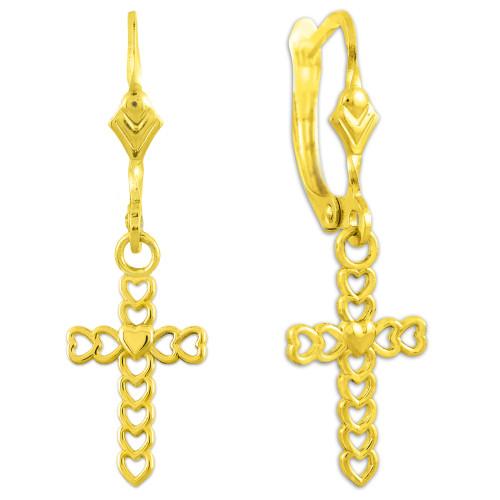 Gold Open Hearts Cross Dangle Earrings