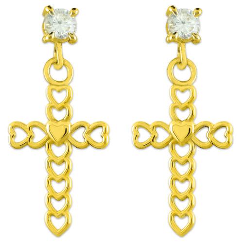 Gold Open Hearts Cross CZ Post Earrings