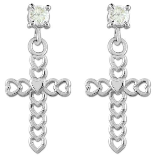 White Gold Open Hearts Cross CZ Post Earrings