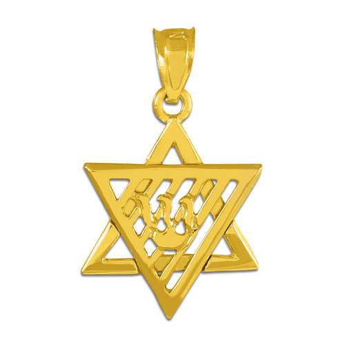 Gold Flaming Star of David Charm Pendant