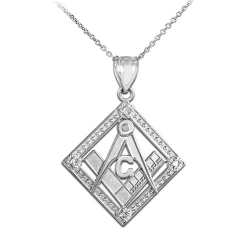 White Gold Square Freemason Diamond Masonic Pendant Necklace