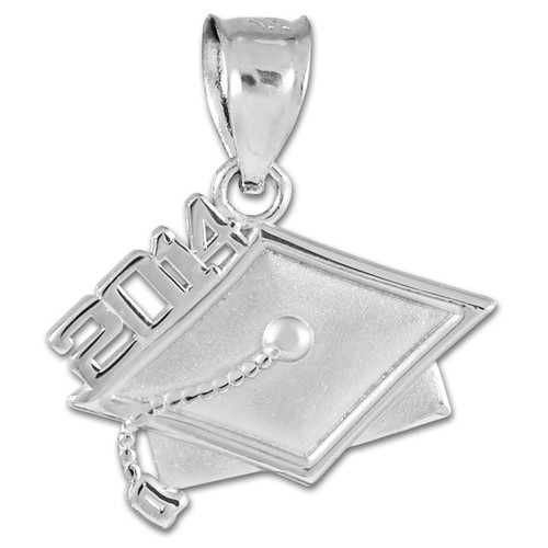 2014 Graduation White Gold Charm Pendant
