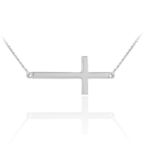 14K Solid White Gold Sideways Cross Necklace