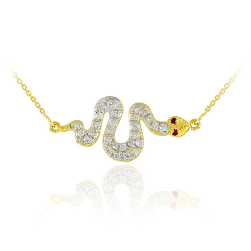 14K Gold Diamond Snake Sideways Pendant Necklace with Ruby Accents