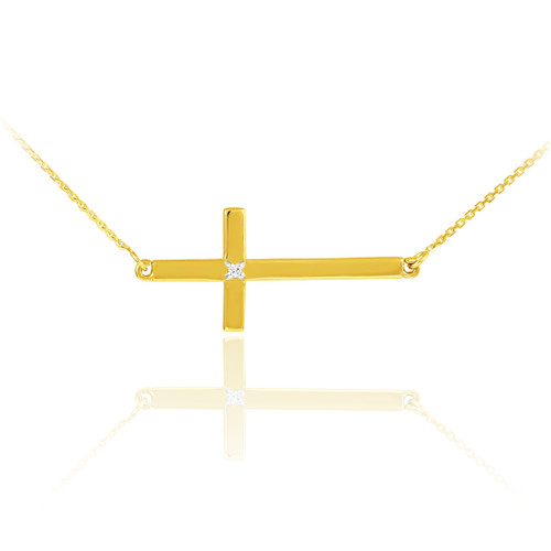 14K Solid Gold Sideways Diamond Cross Necklace