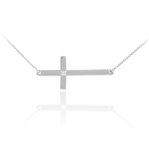 14K Solid White Gold Sideways Diamond Cross Necklace