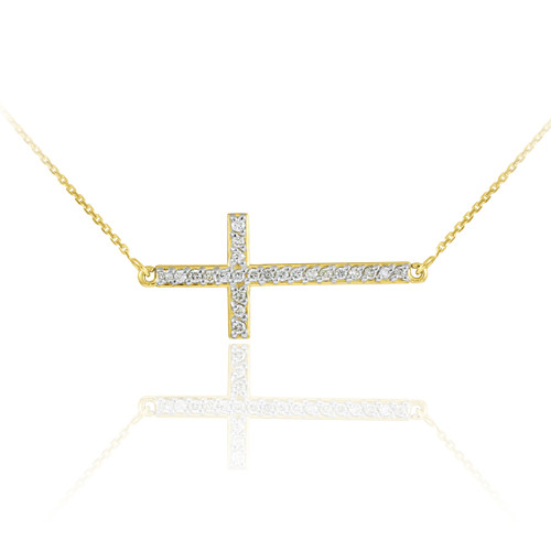 14K Gold Sideways Cross CZ Pendant Necklace