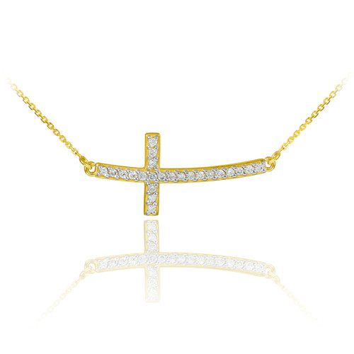 14K Gold Sideways Curved Cross CZ Pendant Necklace