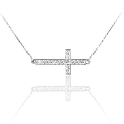 14K White Gold CZ Sideways Cross Cute Necklace