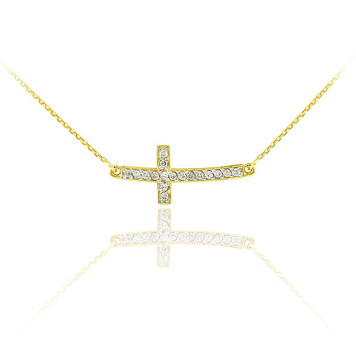 14K Gold Sideways Curved Cross Cute CZ Necklace