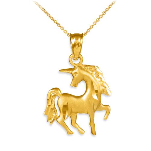Satin Finish Diamond Cut Gold Unicorn Charm Pendant Necklace