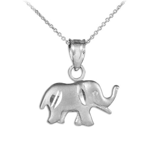 Satin Finish Cute Elephant White Gold Charm Pendant Necklace