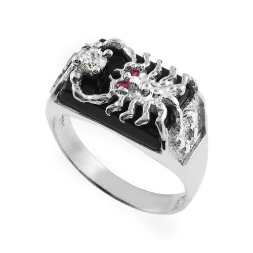 Men's White Gold Black Onyx Scorpion Ring with Cross