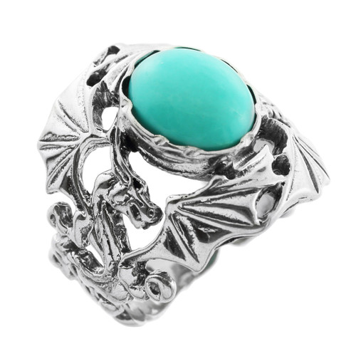 Silver Dragon Ring with Turquoise Center Stone
