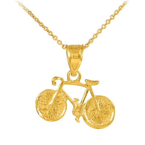 Gold Bicycle Charm Sports Pendant Necklace