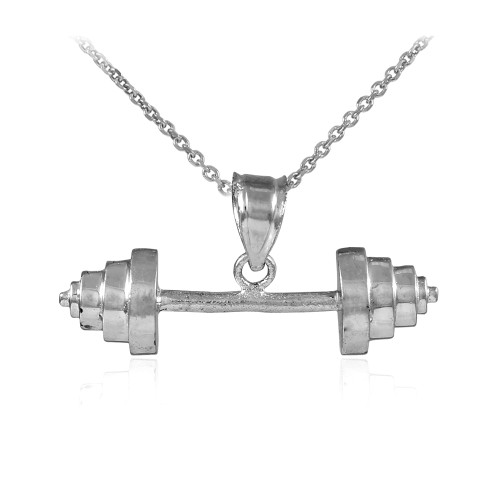 White Gold Dumbbell Charm Sports Pendant Necklace