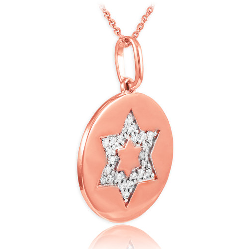 14K Polished Rose Gold Medallion Star of David Diamond Pendant Necklace