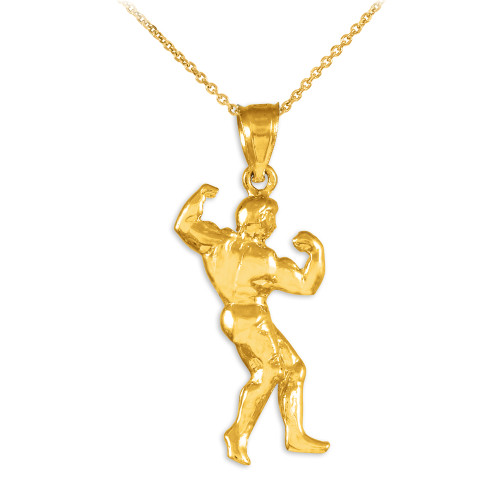 Full Bodybuilder Gold Sports Pendant Necklace