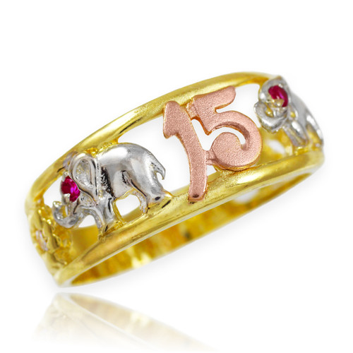 "Tri-Tone Gold ""15 Anos""  Quinceanera CZ Ring with Elephants"