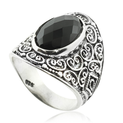 Black Onyx Silver Statement Ring
