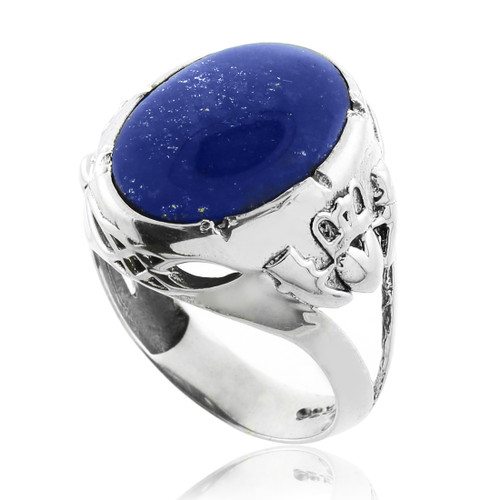 Blue Stone Claddagh Silver Ring