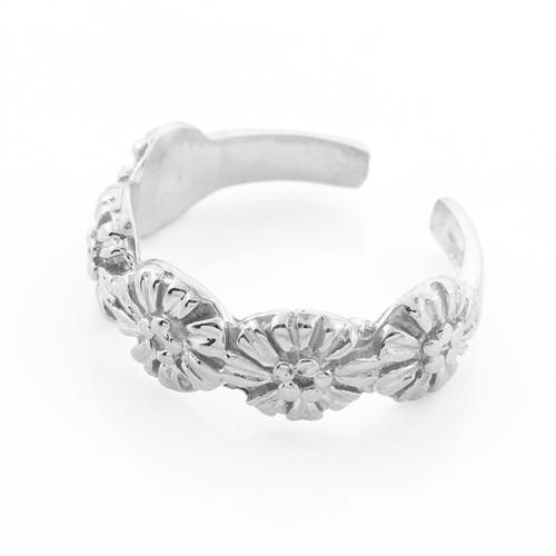 Silver Flower Toe Ring