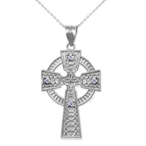 Sterling Silver Celtic Cross Diamond Pendant Necklace