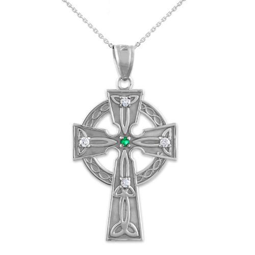 Silver Celtic Trinity Diamond Cross Pendant Necklace with Emerald