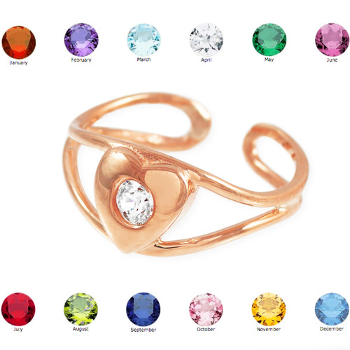 Rose Gold Heart Birthstone CZ Toe Ring