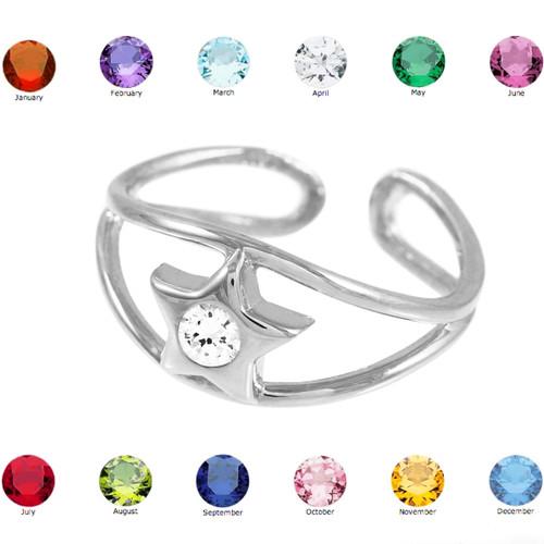 Silver Star Birthstone CZ Toe Ring