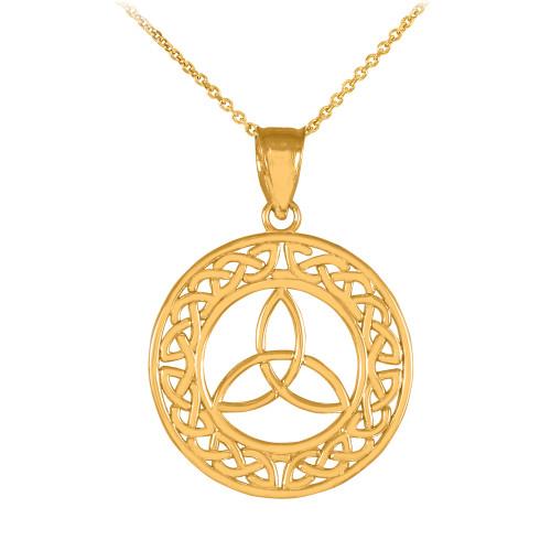 Round Gold Trinity Pendant Necklace