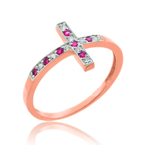 Rose Gold Diamond Sideways Cross Ring with Rubies