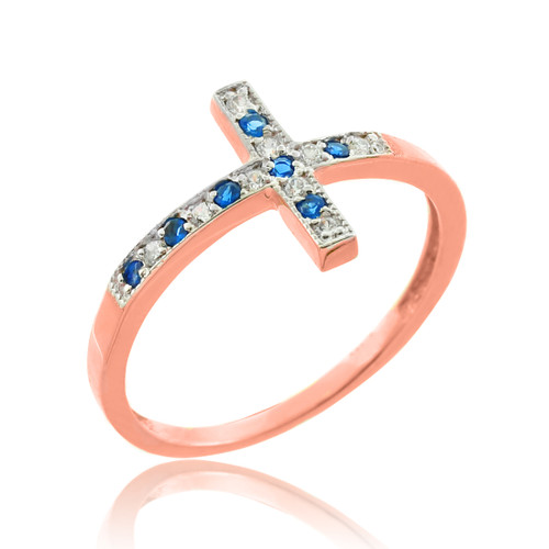 Rose Gold Sideways Cross Blue Zirconia Ring