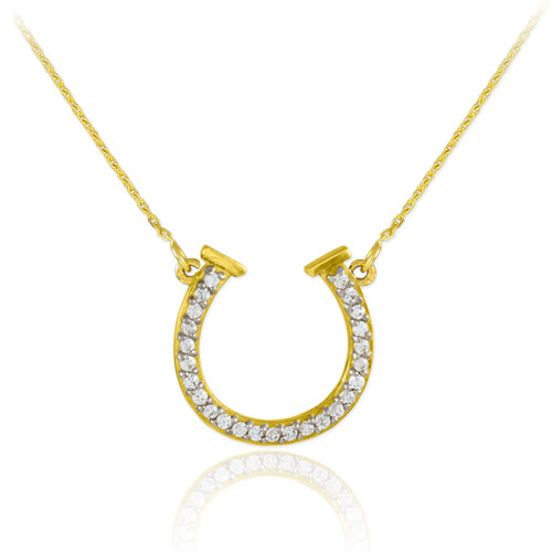 14K Gold Diamond Horseshoe Necklace