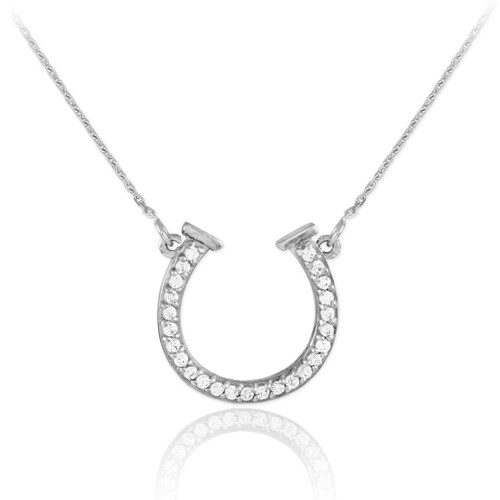 14K White Gold CZ Horseshoe Necklace