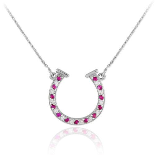 14K White Gold Diamond & Ruby Horseshoe Necklace