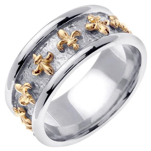 14k Two Tone Gold Fleur-De-Lis Wedding Band (9 mm)