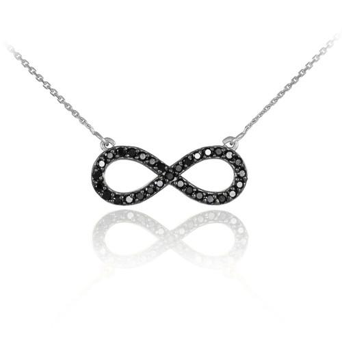14K White Gold Black CZ Infinity Pendant Necklace