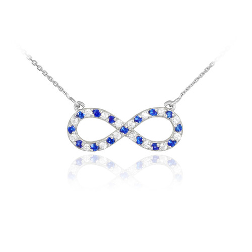 14K White Gold Clear & Blue CZ Infinity Necklace