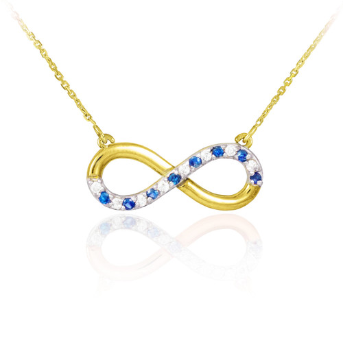14K Gold Sapphire and Diamond Infinity Necklace