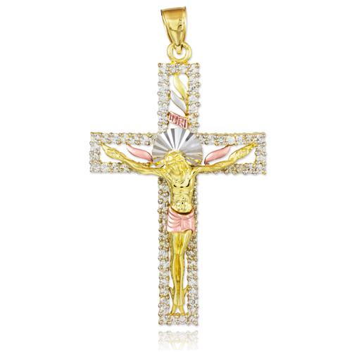 Tri-Tone Gold CZ Crucifix Pendant