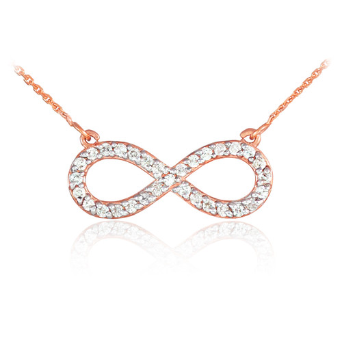 14K Rose Gold Diamond Infinity Pendant Necklace