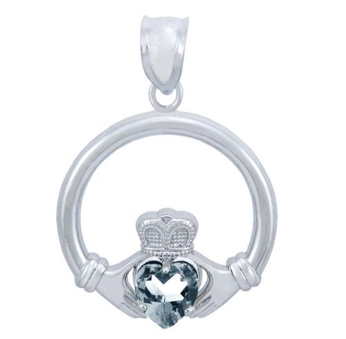 Silver Claddagh Clear CZ Heart Pendant (M)