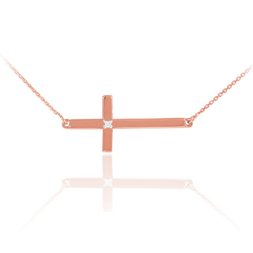 14K Solid Rose Gold Sideways Diamond Cross Necklace
