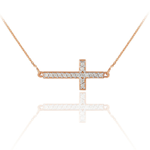 14K Rose Gold Diamond Sideways Cross Necklace
