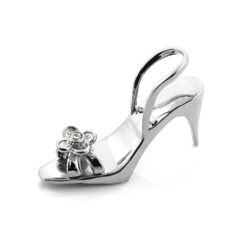 White Gold 3D Shoe CZ Pendant