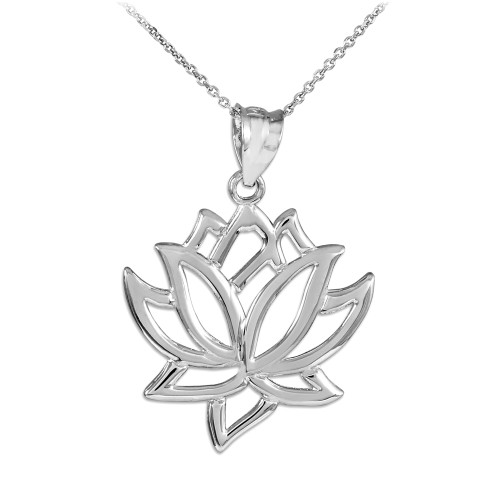 Lotus Flower White Gold Pendant Necklace