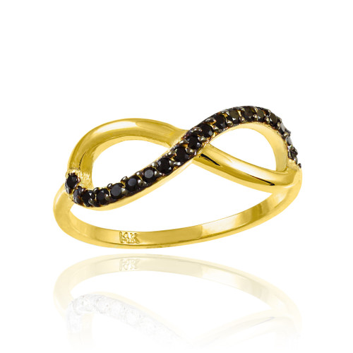 Black Diamond Infinity Ring in Gold.