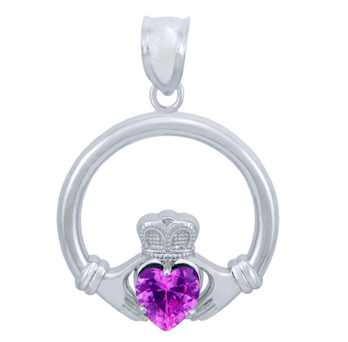 Silver Claddagh Pink CZ Heart Pendant (M)